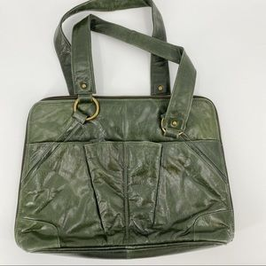 Latico green leather laptop bag/purse